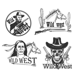 Set of Wild west emblems vector image vector image