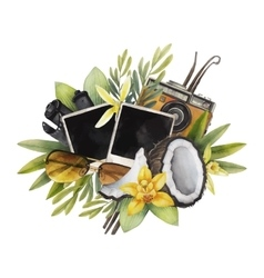 Watercolor summer design vector image