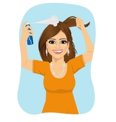 woman spraying her hair with dry shampoo vector image vector image