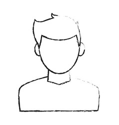 blurred silhouette cartoon faceless half body man vector image vector image