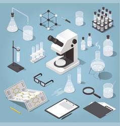 chemistry laboratory objects set vector image