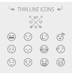 Emoji thin line icon set vector image vector image