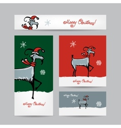 Funny goat santa Christmas cards 2015 design vector image