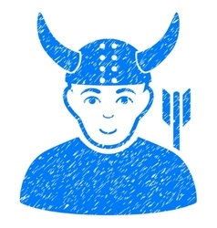 Horned Warrior Grainy Texture Icon vector image vector image