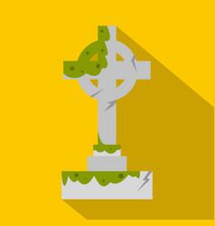 Irish celtic cross with green slime icon vector