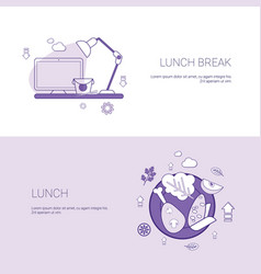 lunch break concept template set web banner with vector image
