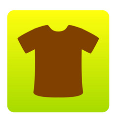 t-shirt sign brown icon at green-yellow vector image