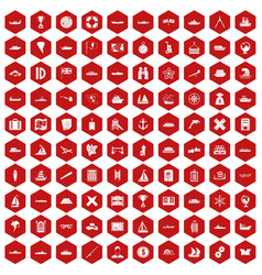 100 shipping icons hexagon red vector