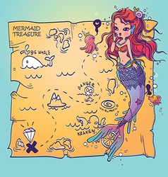 A Mermaid and Treasure Map vector