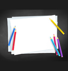 a4 paper and color pencils vector image