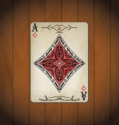 Ace of diamonds poker cards old look varnished vector