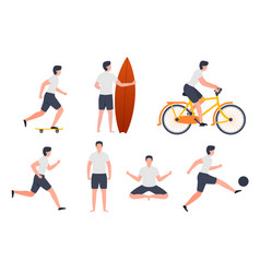 Active man - skate running football surfing vector