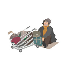 Angry homeless man dressed in shabclothes vector