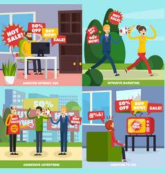 annoying intrusive advertisement icon set vector image