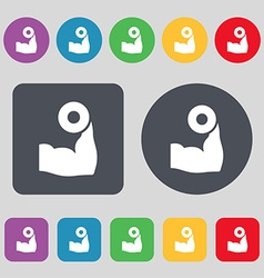 Arm muscle with dumbbell in hand icon sign A set vector