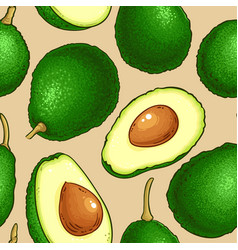 avocado fruit pattern on color background vector image