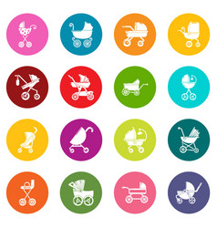 baby carriage icons set colorful circles vector image