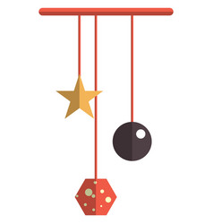 baby hanging rattle toy newborn crib toy icon vector image