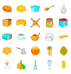 Bakehouse icons set cartoon style vector