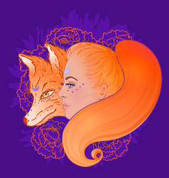 beautiful woman portrait with a fox and flowers vector image