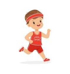boy in a red uniform running marathon runner boy vector image