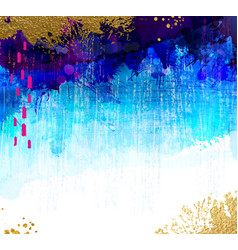 bright contrast gold and blue watercolor stains vector image