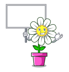 Bring board daisy flower character cartoon vector
