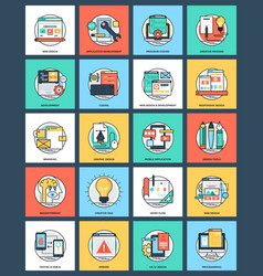 Bundle of design and development flat icon vector