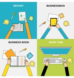 Business hands flat line vector image