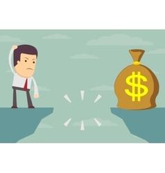 Businessman looking for money bag vector