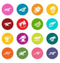 Cannon retro icons set colorful circles vector