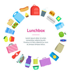 cartoon color school lunch food boxes banner card vector image