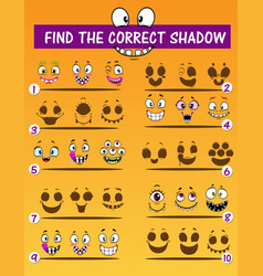 Children shadow match game with monsters faces vector