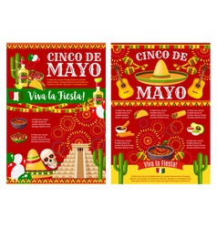 cinco de mayo banner for mexican holiday party vector image