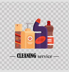 Cleaning service set house cleaning tools on vector