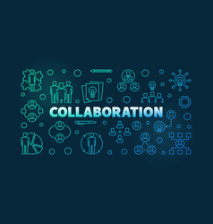 collaboration colorful outline vector image