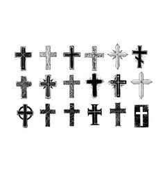 Collection christian crosses doodle sketch vector
