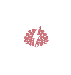 Creative brain power flash logo symbol design vector