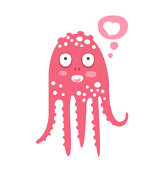Cute cartoon pink octopus character dreaming vector