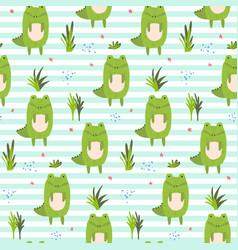 cute cartoon striped pattern with crocodiles vector image