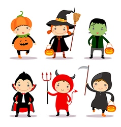 Cute kids wearing halloween costumes vector