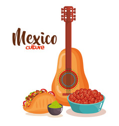 delicious mexican food with guitar vector image