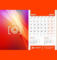 Desk calendar planner template for may 2020 week vector