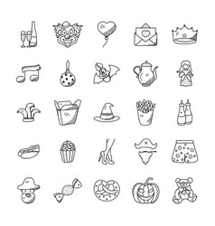 Doodle icons collection celebration and party vector
