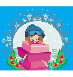 Elegant and fashionable girl with gift box vector