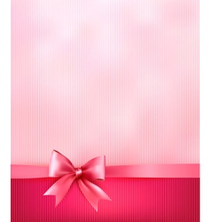 elegant holiday background with gift pink bow vector image