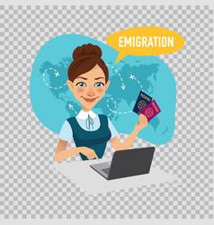 Employee of company prepares visas for immigrants vector