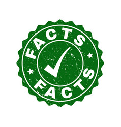 facts scratched stamp with tick vector image