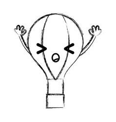 Figure angry air balloon kawaii with arms vector