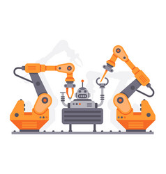 flat auto robots factory electronic assembly of vector image